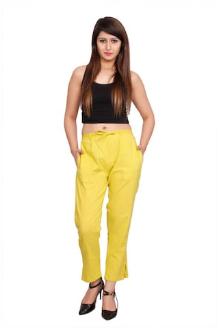 Avanya Lime Green Colour Solid Cotton Slub Women's Cigarette Pant