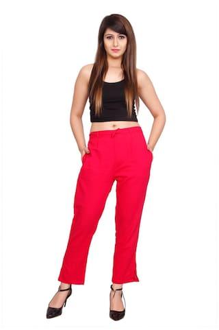 Solid Avanya Slub Cotton Colour Women's Cigarette Pink Pant nWr44xE