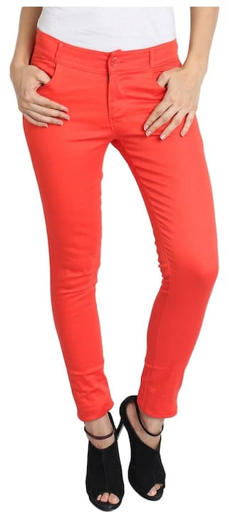 AVE Fashion Wear Women Red Cotton Lycra Chinos Trouser