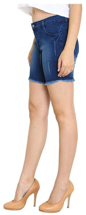 AVE Fashion Wear Blue Slim Fit Shorts For Women's