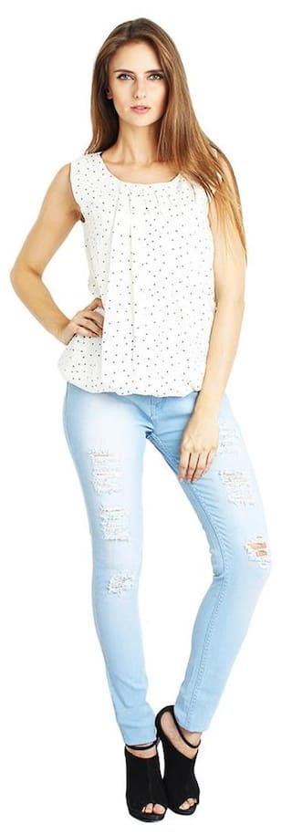AVE FASHION BLUE Women SLIM FOR DAMAGED JEANS FIT WEAR rArFyc4