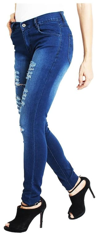 Women SLIM MID WEAR DAMAGED FOR RISE AVE JEANS BLUE FASHION xq6wfPBa