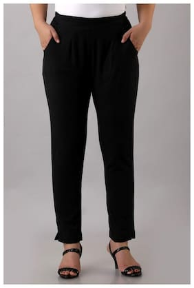 Avinda Cotton Solid Black Color Trouser For Women