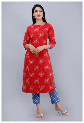 AVINDA Women Red Floral Straight Kurta With Pants