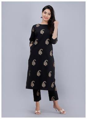 AVINDA Women Black Printed Straight Kurta With Pants