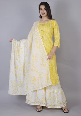 AVINDA Women Yellow Bandhani Straight Kurta With Sharara And Dupatta