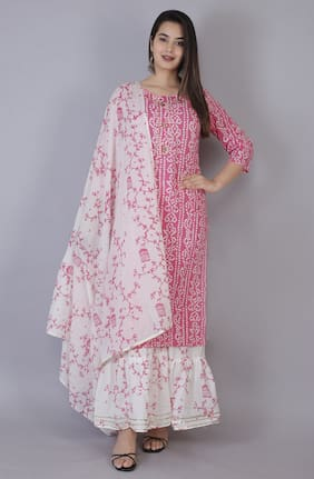AVINDA Women Pink Bandhani Straight Kurta With Sharara And Dupatta