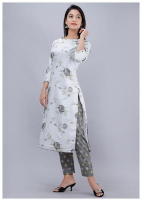 AVINDA Women White & Black Floral Straight Kurta With Pants