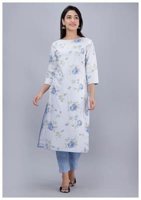 AVINDA Women White & Blue Floral Straight Kurta With Pants