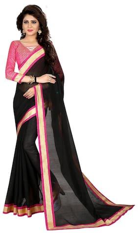 e111dcbc66a Avsar Prints Cotton Chanderi Lace Work Saree - Black