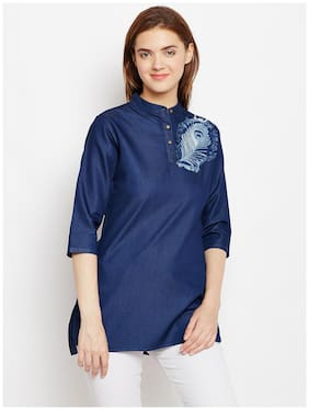 Avyanna Stylish Women's Navy Blue Embroidery Denim Tunic