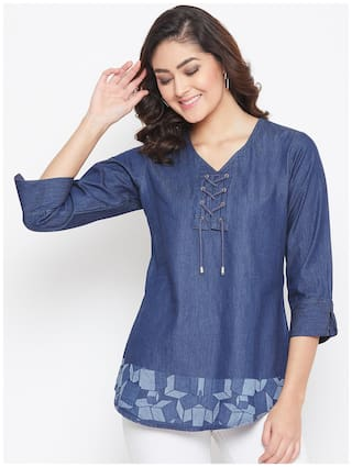 Avyanna Stylish Women's Navy Blue Laser Printed Ilet Detail Denim Tunic