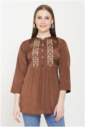 Avyanna Women Embroidered Regular top - Brown