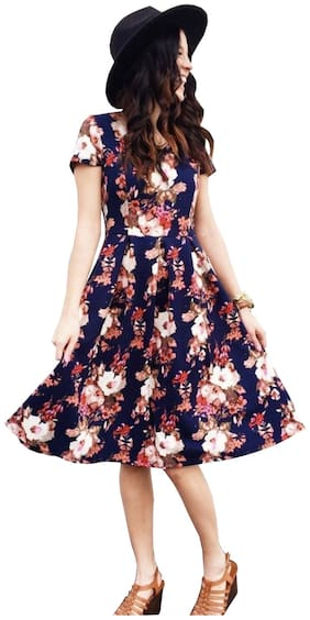 Awesome Fa Crepe Floral Fit & Flare Dress Blue