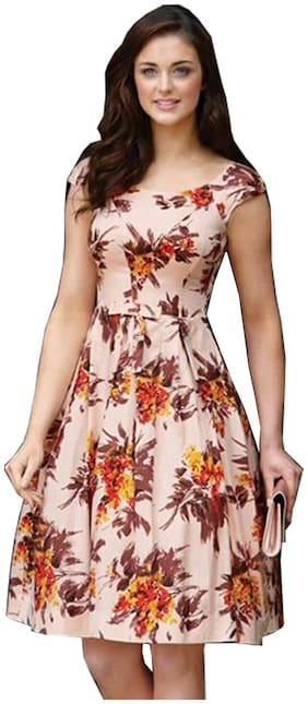 Awesome Fa Orange Floral Fit & flare dress