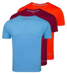 AWG - All Weather Gear Men Regular fit Round neck Solid T-Shirt - Blue