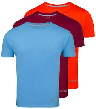 AWG - All Weather Gear Men Blue Regular fit Polyester Round neck T-Shirt - Pack Of 3