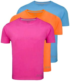 AWG - All Weather Gear Men Pink Regular fit Polyester Round neck T-Shirt - Pack Of 3