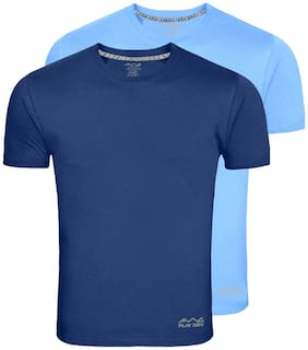 AWG - All Weather Gear Men Blue Regular fit Polyester Round neck T-Shirt - Pack Of 2
