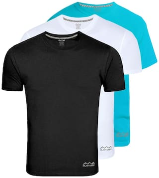 AWG - All Weather Gear Men Multi Regular fit Polyester Crew neck T-Shirt - Pack Of 3
