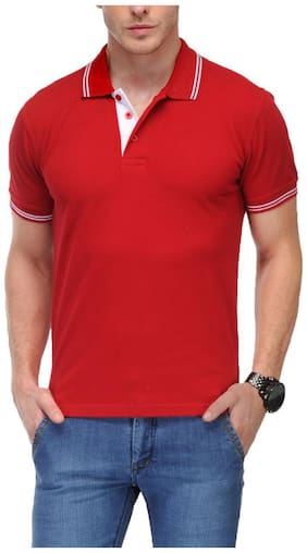 AWG - All Weather Gear Men Red Regular fit Cotton Blend Polo collar T-Shirt - Pack Of 1