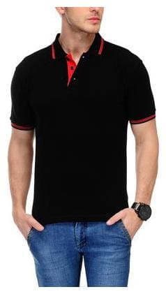 AWG - All Weather Gear Men Regular fit Polo neck Solid T-Shirt - Black
