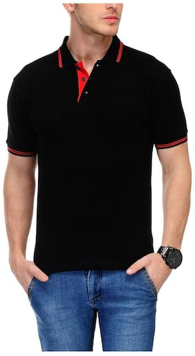 AWG - All Weather Gear Men Black Regular fit Cotton Blend Polo collar T-Shirt - Pack Of 1
