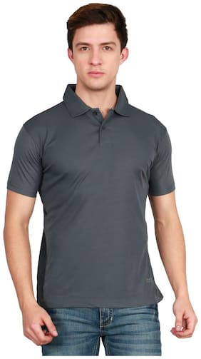 AWG - All Weather Gear Men Regular fit Polo neck Solid T-Shirt - Grey