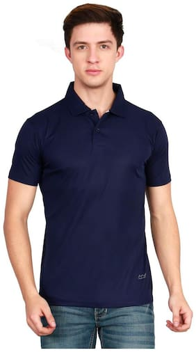 AWG - All Weather Gear Men Regular fit Polo neck Solid T-Shirt - Navy blue