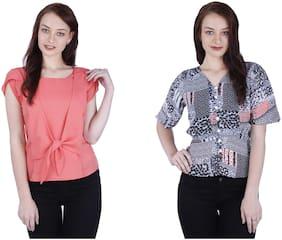 AXPLORE Women Solid & Printed Regular top - Orange & Black