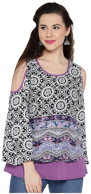 b6dd737e37fe15 Buy Ayaany Cold Shoulder Layered Top Online at Low Prices in India ...