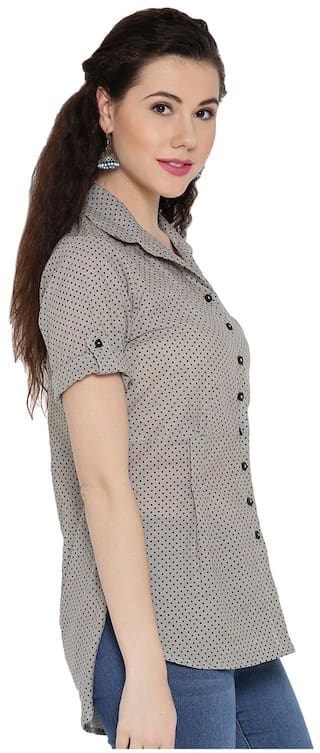 Collared Low High Ayaany Pleated Shirt 06ASnpwq