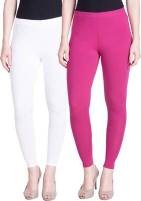 Ayushi Fashion Women's Ankle length cotton Lycra Leggings combo{pink+white}