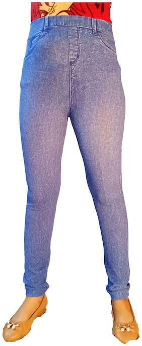AZAD DYEING Women Regular Fit & Skinny Fit High Rise Printed Jegging - Blue