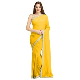 B Bella Creation Yellow Colour Pearl party Wear saree with Blouse Piece