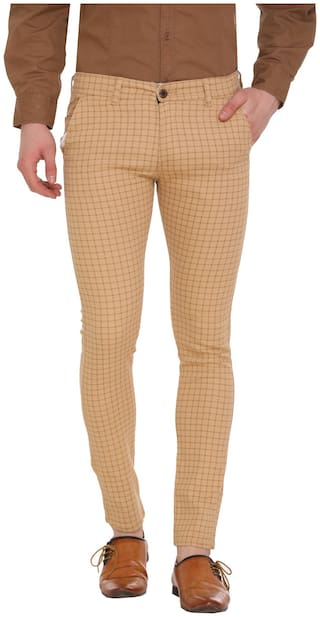 B-LIFE Cotton Regular Fit Men Trousers Yellow