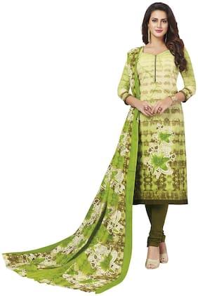 Baalar Green Cotton Dress Material