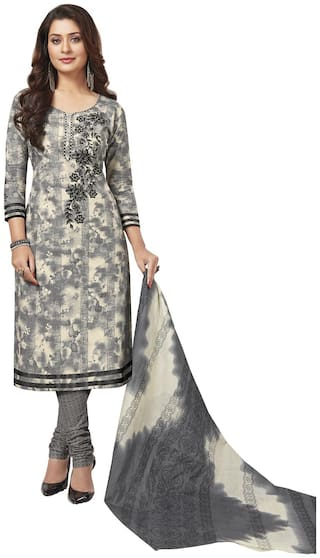 Baalar Grey Cotton Dress Material