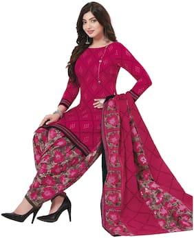 Baalar Pink Unstitched Kurta with bottom & dupatta With dupatta Dress Material