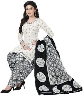 Baalar White Unstitched Kurta with bottom & dupatta With dupatta Dress Material