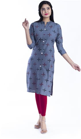 BACHUU Women Blue Printed Straight Kurti