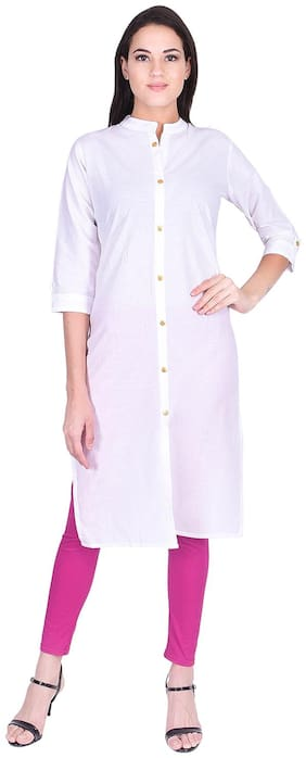 BACHUU Women White Solid Straight Kurti