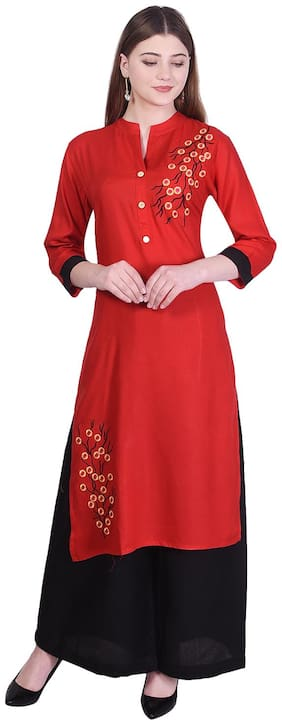 Bachuu Women Rayon Embroidered Straight Kurti With Palazzo Red color
