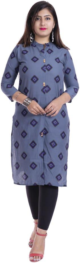 BACHUU Women Grey Printed Straight Kurti
