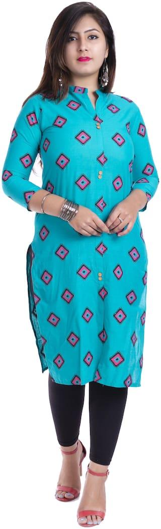 BACHUU Women Blue Printed Straight Kurti