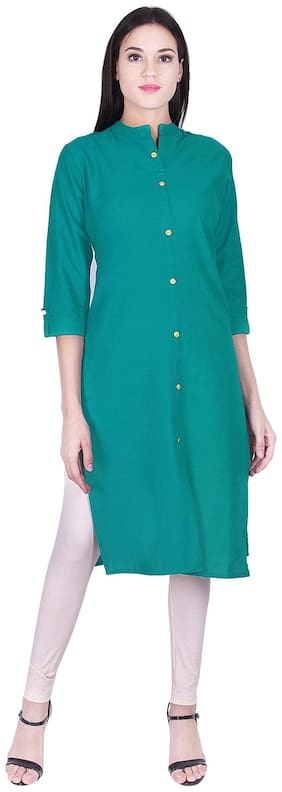 BACHUU Women Green Solid Straight Kurti