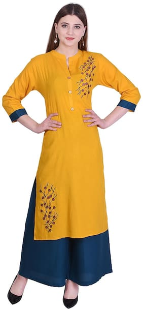 Bachuu Women Rayon Embroidered Straight Kurti With Palazzo Yellow color