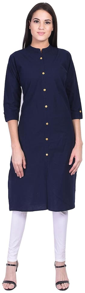 BACHUU Women Blue Solid Straight Kurti
