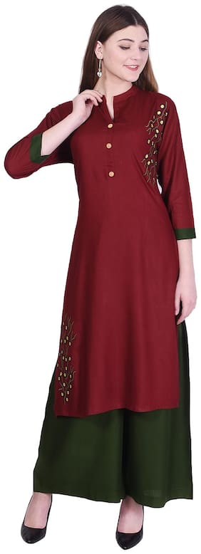 Bachuu Women Rayon Embroidered Straight Kurti With Palazzo Maroon color