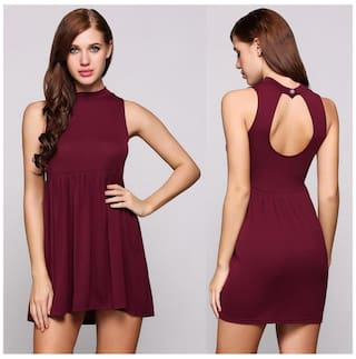 Mini Shift Sleeveless Casual Collar Solid Backless Dress Stand FwSnAnqp